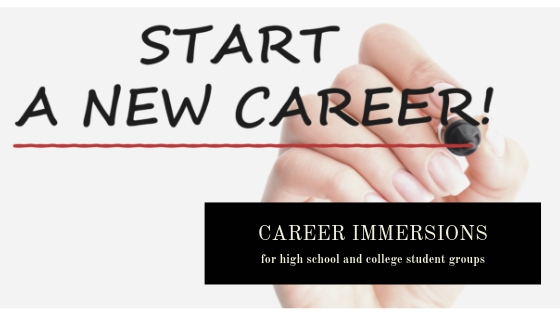 Our Career Immersions Introduction for High School and College Student Groups features a whiteboard picture meant to represent the Start of a New Career.